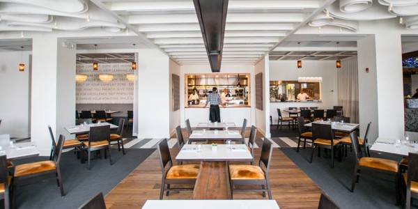 eye-catching ceiling swirls and contrasting straight lines at Hob Nob Food and Social Exchange